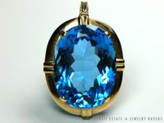 LARGE VINTAGE ESTATE 14K YELOW GOLD OVAL FACETED 65CT INTENSE BLUE TOPAZ PENDANT