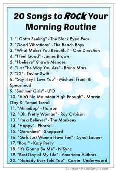 20 Songs to ROCK your morning routine! playlist 5 Ways.- 20 Songs to ROCK your morning routine! playlist 5 Ways to Boldly Be Your B… 20 Songs to ROCK your morning routine! playlist 5 Ways to Boldly Be Your Best Self Each Morning + Free Printable - Road Trip Playlist, Song Playlist, Work Out Playlist, Road Trip Soundtrack, Dance Music Playlist, Summer Playlist, Music Girl, Music Is Life, New Music