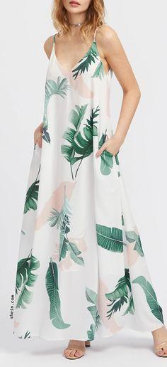 23b091eb51f Jungle Leaf Print Hidden Pocket Side Cami Dress Women's Fashion, Fashion  Outfits, Summer Maxi