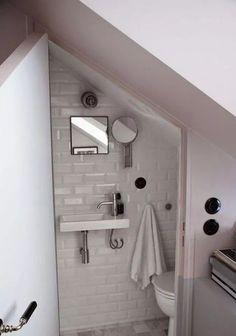 Amazing Attic renovation cost uk,Attic bathroom wall and Attic remodel to bedroom. Tiny Bathrooms, Upstairs Bathrooms, Downstairs Bathroom, Bathroom Laundry, Bathroom Mirrors, Bathroom Shelves, Small Downstairs Toilet, Small Toilet Room, Small Attic Bathroom