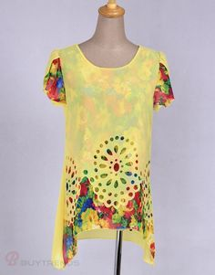 Leisure Floral Printing Short Sleeve Round Collar Hollow Out Chiffon T-Shirts Women's Summer Fashion Top Yellow - BuyTrends.com