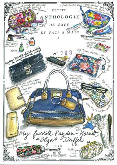 We adore the bag illustrations from Nathalie Lecroc, portraying their female owners through the bags' content - purses, notebooks, umbrellas and sun glasses, cell phones and cosmetic cases. Picture here is 'My favourite Hayden- Harriett 'Olga' Duffel.