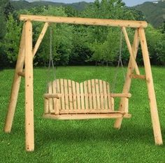 Hearthside Log A-Frame Swing Stand: Perfect for the porch or garden, our genuine cedar log Hearthside Log A-Frame Swing Stand stands high above the rest.  Handcrafted by skilled Amish artisans, this piece features hand-peeled cedar logs masterfully joined