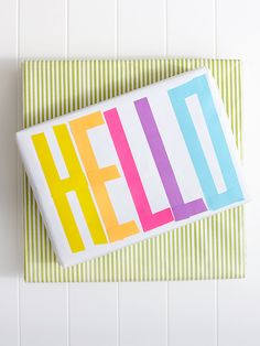 spring washi tape gift wrapping : say hello