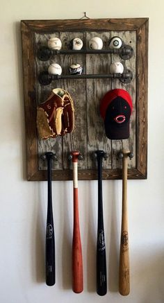 Rustic industrial baseball display by UrbanstylesShop on Etsy