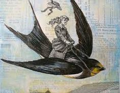Resultado de imagen para girl riding on a bird illustration