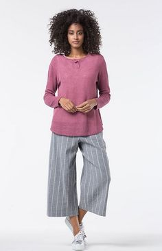 Cool Culotte Tiga Wash in color Stone and in a  cotton/linen blend available at calgary.oska.com