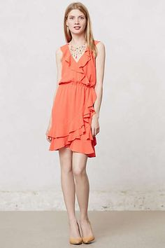 Anthropologie - Dotted Ruffle Dress bridesmaids
