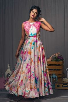 Multicolor Digital Printed Satin Coldshoulder Gown With Jacket Lehenga Designs, Kurta Designs, Long Gown Dress, Frock Dress, Saree Dress, Chiffon Maxi Dress, Long Dress Design, Dress Neck Designs, Frock Design