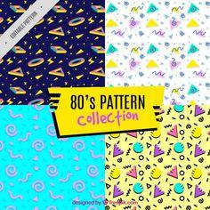 4八十年代パターン、フルカラー 無料ベクター