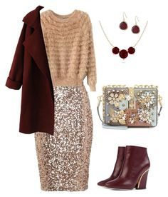 A fashion look from January 2016 featuring beige sweater, knit coat and sequin pencil skirt. Browse and shop related looks. Fashion Women, Women's Fashion, Karen Kane, French Connection, Women's Clothing, Shoe Bag, Clothes For Women, Woman, Female