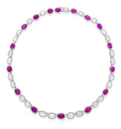 A pink sapphire and diamond necklace  Designed as a chain of pairs of oval rose-cut diamonds alternating with oval mixed-cut pink sapphires, each within a round brilliant-cut diamond surround, mounted in platinum