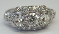 Antique European Diamond Engagement Ring  Art Deco Platinum Vintage Estate FINE #Engagement