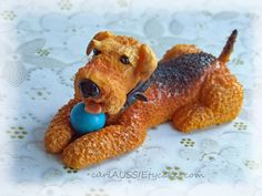 For this weekends upcoming cake I am doing figurines of all the little girls animals one being this gorgeous breed of dog. I just hope I did it justice. Fondant Cat, Fondant Animals, Welsh Terrier, Airedale Terrier, Dog Cakes, Cupcake Cakes, Cupcakes, 3d Dog, Puppies And Kitties
