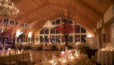 Ballroom, great lighting. Clean crisp chandeliers and long oval tables. Would love to create the feel of a big dinner party for our family.