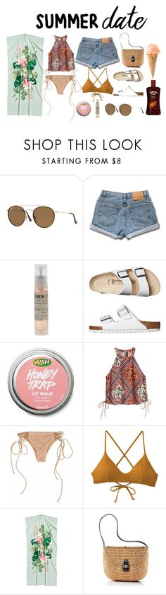 """""""beach date"""" by littlemissdaisy33 on Polyvore featuring Ray-Ban, Le Labo, Birkenstock, H&M, RVCA and Mark & Graham"""