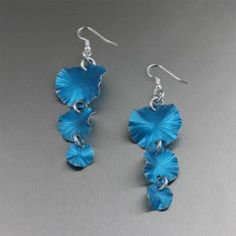 Three Tiered Blue Anodized Aluminum Lily Pad Earrings