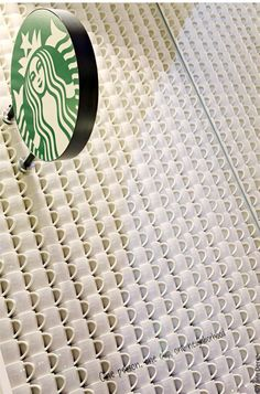 Galleries Lafayette Starbucks - Not to distract from the exquisite atrium of the legendary department store - Galeries Lafayette, this Starbucks cafe keeps a very simple idea of repeating white cups as the main theme. Coffee Art, I Love Coffee, Coffee Shop, Coffee Cups, Best Espresso, Espresso Cups, Espresso Coffee, Starbucks Store, Starbucks Coffee