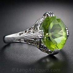 Peridot Art Deco Ring - Lang Antiques