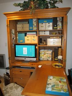 Entire office folds up in an armoire!  Great solution for when I eventually lose my office space to kids' rooms.