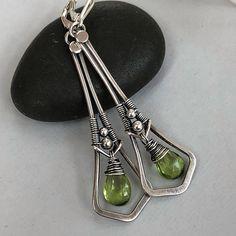 Sterling Silver Wire Earrings with Peridot/ Peridot Earrings/