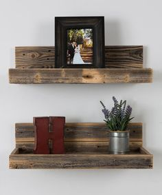 Love this Reclaimed Wood Floating Shelves - Set of Two on #zulily! #zulilyfinds