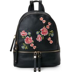 Urban Expressions Rose Embroidered Backpack (£34) ❤ liked on Polyvore featuring bags, backpacks, backpack, accessories, black, faux leather rucksack, faux-leather backpack, embroidered bag, urban expressions and leather daypack