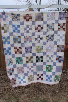 VINTAGE NINE PATCH PATTERN CRIB BABY QUILT or WALL HANGING