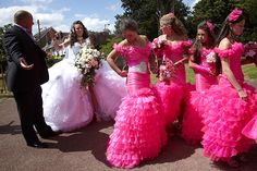 bad bridesmaid style ugly bridal party photos wedding fun 8 Dresses, and Fashion, Party Attire, Bridesmaid Dresses, Fun Tacky Wedding, Ugly Wedding Dress, Wedding Dress Pictures, Wedding Attire, Wedding Gowns, Wedding Bells, Wedding Bride, Wedding Photos, My Big Fat Gypsy Wedding