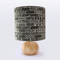 Hand Printed, Lampshade, Tiles Pattern, Organic Cotton, Drum Lampshade, Screen Printed, Hand Drawn Pattern, Table Lamp, Bedroom Lamp