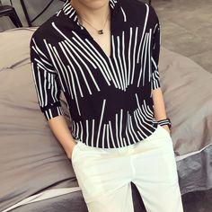 >> Click to Buy << Black And White Shirts Mens Stripe Shirts Deep V-Neck Mandarin Collar Shirts For Mens Summer Loose Korean Man Fashion Clothing #Affiliate