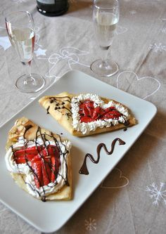 ( ^o^ ) Romantic Crepes. Cute Food, Good Food, Yummy Food, Valentines Day Food, Aesthetic Food, Food Cravings, Food Porn, Cooking Recipes, Fast Recipes