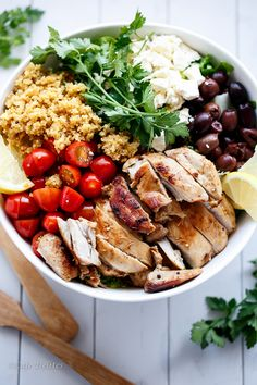 Balsamic Chicken Salad w Lemon Quinoa Lemon Quinoa: ½ c dry quinoa 1 c vegetable/chicken stock Pinch of salt Juice of ½ a lemon Chicken: 6 boneless chicken fillets, trimmed of fat 1 tbsp garlic/plain olive oil 2 tbsp balsamic vinegar Juice of ½ a lemon 1 tsp vegetable stock powder 1 tsp garlic powder/granules crushed Salad: 6 c cos lettuce grape tomatoes, halved ½ med red onion 1.7oz Feta Cheese Dressing:  2 tbsp garlic olive oil 2 tsp balsamic vinegar