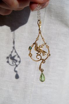 Antique Bird Lavalier with Peridot Green Garnet and by springthaw, $295.00