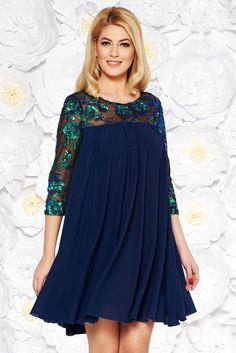 StarShinerS darkblue dress occasional flared from veil fabric with inside lining with sequin embellished details, sequin embellished details, inside lining, easy cut, transparent sleeves, 3/4 sleeves, voile fabric, one back botton fastening