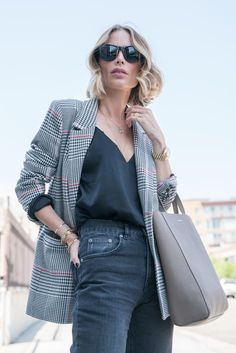 Anine Bing in our favorite Glen Check Blazer Look Blazer, Plaid Blazer, Look Fashion, Fashion Outfits, Womens Fashion, Fashion Trends, Cami Tops, Summer Work Outfits, Cool Outfits