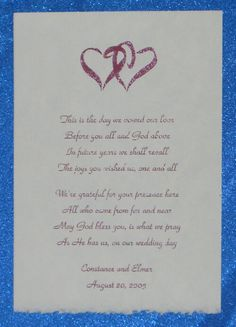 Wedding scroll poem and design for keepsake pouch.