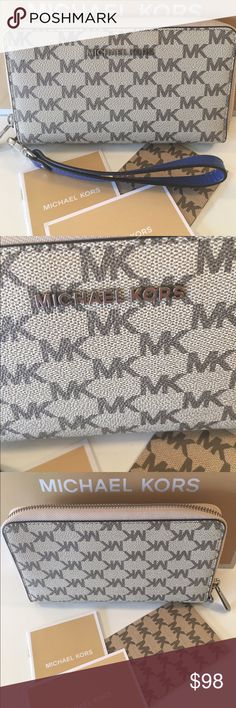 🆕MICHAEL KORS NEW LARGE ZIP WALLET 💯AUTHENTIC MICHAEL KORS NEW NEVER USED WITH TAGS LARGE ZIP WRISTLET WALLET 100% AUTHENTIC. STUNNING AND STYLISH TOTALLY ON TREND! JUST BEAUTIFUL! IT HAS A LOVELY REMOVABLE WRIST STRAP. THE WALLET CAN FIT A PHONE. IT HAS TWO LARGE WALL POCKETS, A GREAT ZIP POCKET, IDENTIFICATION HOLDER AND SIX GREAT CARD SLOTS! THE PERFECT WALLET! THIS IS A MICHAEL KORS BOUTIQUE ITEM NOT A OUTLET WALLET! THIS ITEM IS NEW AND HAS ITS TAG PAPERS . HOWEVER, THE ACTUAL PRICE…