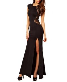Simple Style Hollow-out Side Slit Pure Color Round Neckline Dress