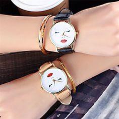 Dames+Modieus+horloge+Polshorloge+Unieke+creatieve+horloge+Vrijetijdshorloge+Chinees+Kwarts+/+Leer+Band+Informeel+Cool+Zwart+Wit+Bruin+–+EUR+€+6.83