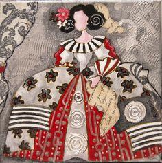Pinzellades al món: 'Meninas' il·lustrades per Raquel de Bocos Ceramic Painting, Silk Painting, Illustrations, Illustration Art, Collages, Ceramic Figures, Ad Art, Naive Art, Mixed Media Canvas