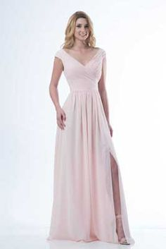 Kanali K - The emotion of feeling unique. Chiffon full-length off the shoulder gown with ruched bodice and front slit is available in over 50 colors in sizes 1-30. Also a great dress for mother of the wedding.