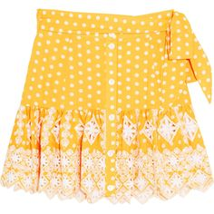 Miguelina Emy broderie anglaise-trimmed polka-dot cotton mini skirt (1,260 AED) ❤ liked on Polyvore featuring skirts, mini skirts, yellow polka dot skirt, waist belts, yellow skirts, short mini skirts and miguelina