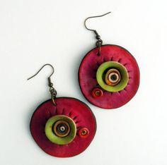 Polymer clay earrings.  - Unique organic shape.  - Diameter : 4 cm.  - Total length 6 cm.  - Brass earwires.