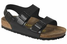 Birkenstock Milano  Hunter Black Leather  $120     Active people love the comfortable and durable Milano. The heel strap hugs the shoe to your foot, providing extra security. The contoured cork footbed provides arch support and a deep heel cup to keep your foot stable in the sandal. EVA soles are lightweight, flexible, durable and provide some cushion. They are replaceable if they wear out.