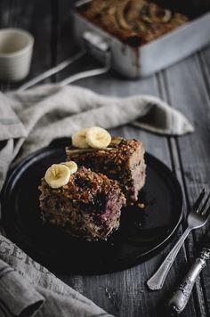 Coco e Baunilha: Aveia no forno com banana, mirtilos e noz pecã // Banana, blueberry pecan baked oatmeal