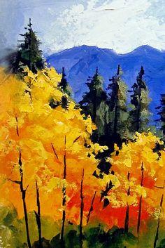 """FALL IN COLORADO III"" 10144 by Carol Nelson Oil ~ 7 x 5"