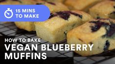 This is a great recipe for baking vegan blueberry muffins in 15 minutes! I used this recipe when I was a professional cater and it never failed. Vegan Blueberry Muffins, Blueberry Topping, Blue Berry Muffins, Vegan Baking Recipes, Baking Tips, Vegan Cupcakes, Vegan Cake, Baking Muffins, Vegan Chocolate