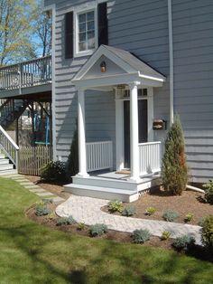 ideas patio door coverings porticos for 2019 Front Stairs, House Front Door, Front Doors, House Porch, Front Walkway, Front Entry, Patio Entrance Ideas, Patio Doors, Porch Ideas