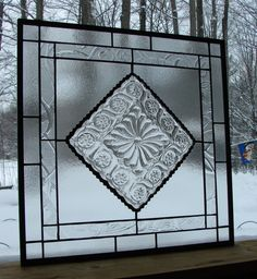 stained glass panel Crystal Satin & Lace by BarbarasStainedGlass